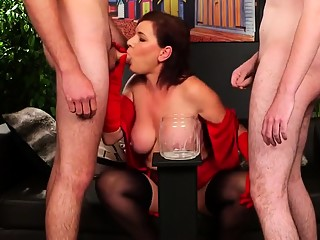 Naughty bombshell gets cumshot on her face gulping all the c