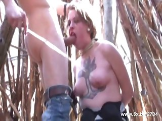 Jessica brutaly fucked in the wood