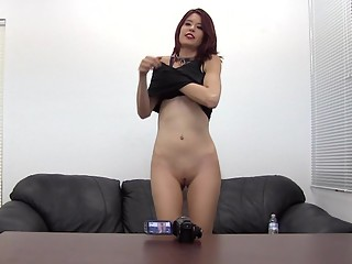 New redhead masturbating on camera