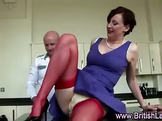 British mature lady in nylons and lucky amateur guy