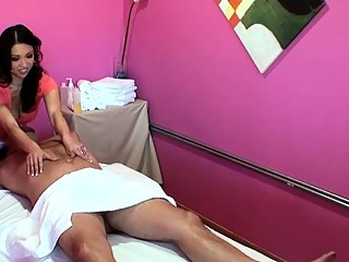 Petite oriental masseuse is amazed at the size of his knob