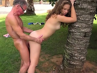 Two Grandpas bang a blonde hair young girl licking twat