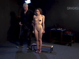 Little slave properly caned