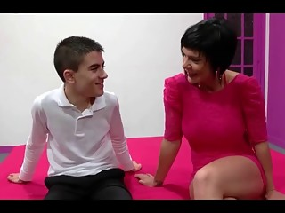 Spanish Milf Short Hair And Young Boy