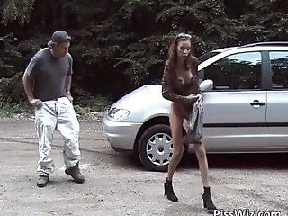 Some slut get horny ride by car