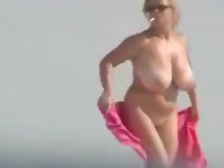 Just wow big tits on beach