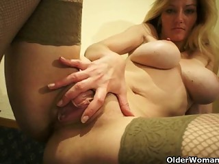 Mature soccer mom with big tits masturbates (compilation)