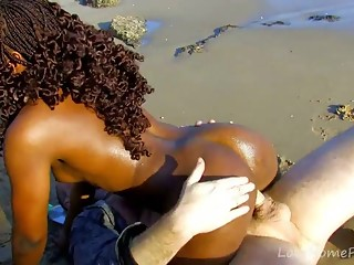 Ebony Island Girl Loves Big White Cock
