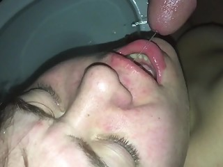 Amateur wife drinks piss from cock