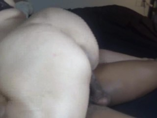 Hot wife ride's step sons huge black cock, creampie finish! pt 1