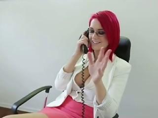 Breasty sexy Redhead Secretary