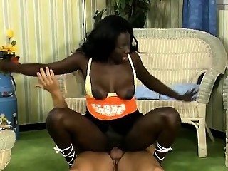 Young African hottie in pantyhose gets fucked by her white