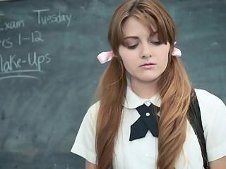 InnocentHigh - Cute Redhead Schoolgirl Fucks Pervy Teacher