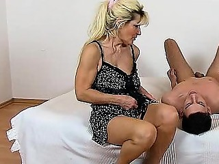 Beate a hot legs mom boy facesitting and pussy eating