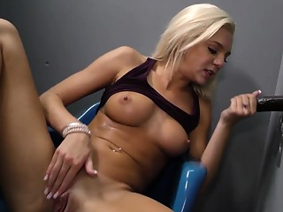 Blonde whore gives head