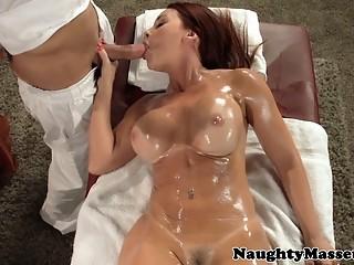 Redhead pornstar Janet Mason sucks dick