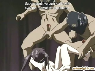 Chained hentai with a muzzle gets humiliated