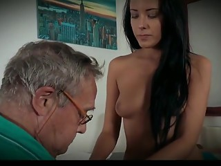 Old ugly bald fuck with beauty girl