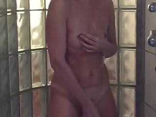 Wife has fun under shower