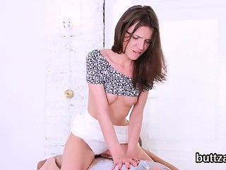 Fantastic tight kitten gets her spread twat and small anus p