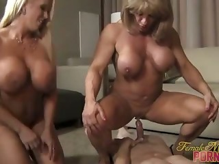 Reverse Gangbang - Three Muscle Ladies, One Man
