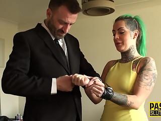 Tied up real tattooed sub