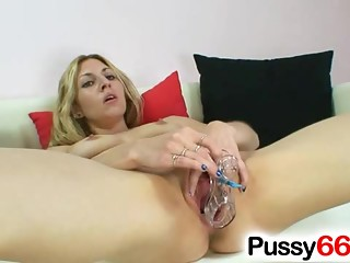 Filthy blond-haired Sam speculum pussy spreader games