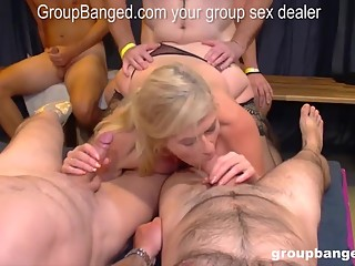 Groupbang queen Marina fucked by the whole gang