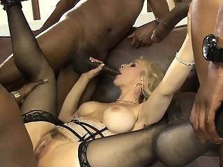 Gorgeous whore Sarah Vandella gangbang by black boners