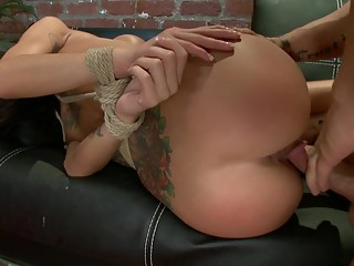 Tied and gets fucked hard in the ass