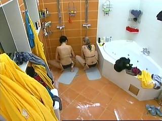 Two Girls masturbating in Czech Big Brother under Shower