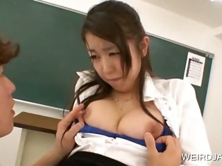 School teacher gets asian tits licked
