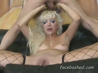 Extremely rough blonde face fuck by an ex convict in a bad