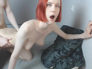 Redheaded babe gets fucked with facial