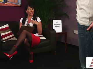 Busty Brit enjoys giving JOI in her office