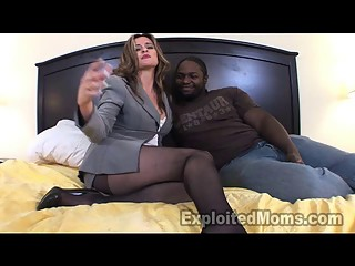 Older Women Secretary in Interracial Video