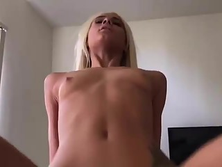 Skinny Blonde Rides Cock