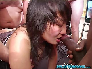 Asian babes debut gangbang