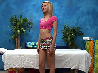 Skinny blonde teen sucking and sliding on a cock