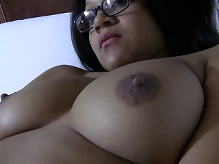 Busty Asian girl lets you watch her masturbate