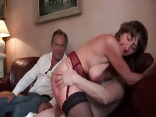 French mature double penetrated in stockings