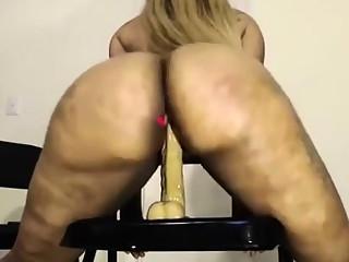 Fat chubby black girl toying ass