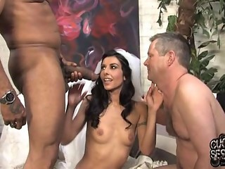 Just married Bride fucks black guy in front of white husband