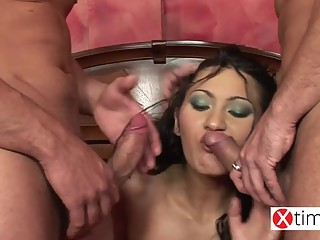 Hot Rumanian Brunette getting double fuck in Italy