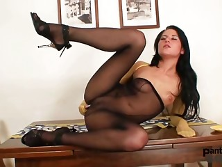 Hot chick got nylon pantyhose covered tits