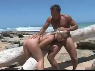 Blonde college girl creampie on beach