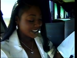 Menage Trois gazoo group-fucked in a bus