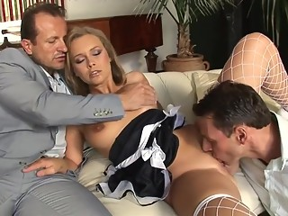 Maid in threesome