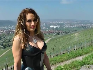 sexy lady in tight dress and high heels