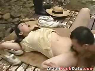 Chinese couple fucking in public park